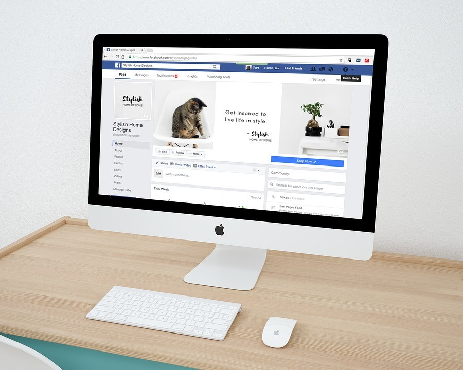Computer with facebook on screen